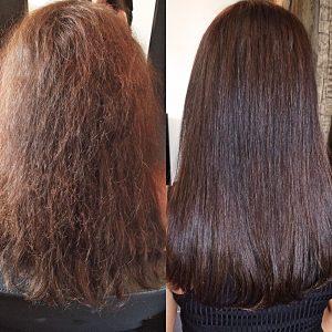 Voor en na het plaatsen van hairextensions